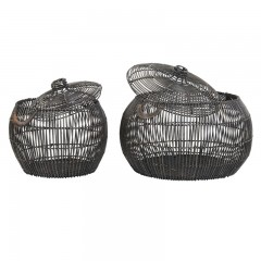 BASKET BLACK RATTAN IRON FRAME SET OF 2